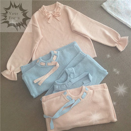 Wholesale Pink Ribbon Sweater - Wholesale-2016 new Japanese lolita cute kawaii sweet korean ribbon lace bow vintage pink sweater women pull femme