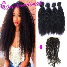 Wholesale Kinky Permed Lace Closure - Brazilian human hair weave closure Kinky Curly hair extension with 4x4 Lace Closure Peruvian Inidian Human hair extenison with Lace frontal