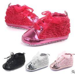 Wholesale Plastic Baby Walker - Baby prewalker Kids sneaker christmas baby girls stereo rose flowers soft bottom first walker children BOWS ribbon casual shoes R0117