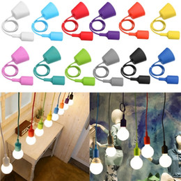 Wholesale Low Price Pendant Lighting - Lowest Price E27 E26 Socket Chandelier light Fixture Hanging line Colorful Silicone Rubber Ceiling Pendant Lamp Base Holder