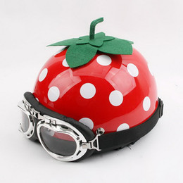 Wholesale Lovely Strawberry - 2016 New summer Strawberry cartoon motorcycle helmet ABS lovely half face Harley helmets Four Seasons General women FREE SIZE
