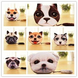 Wholesale Wholesale 3d Purses - 19 Design 3D Printer Cat face Cat dog with tail Coin Purse Bag Wallet Girls Clutch Purses Change Purse cartoon handbag D642