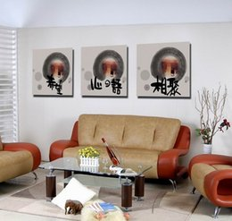 Wholesale Decorative Wall Wording - Feng Shui Wall Art Canvas Hd Print Decorative Zen Picture Modern Chinese Words Set30273