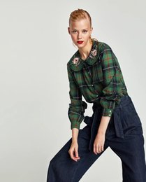 Wholesale Top Sexy Doll - Women's Doll collar embroidered plaid shirt new arrival top quality classic simple luxury Famous fashion brand sexy ladies Cotton OL shirt