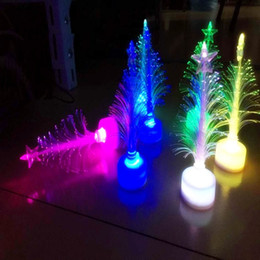Fibra óptica intermitente partido on-line-Cristal Como Decorações De Natal Acrílico Fibra Óptica Mini Multi Flashing Árvore De Natal LEVOU barra de flash party celebração adereços presentes