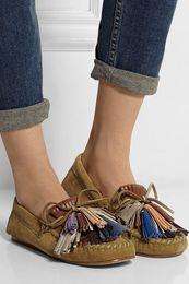 Wholesale Women Tassel Loafers - Isabel shoes new marant tassel suede flats 2016 SUMMER FALL ISABEL fringed suede loafers flat shoes women 35-39 in stock