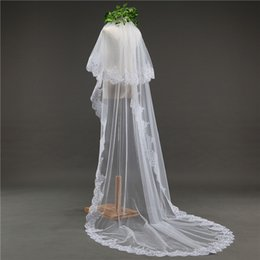 Wholesale Cathedral Mantilla - 3 Meter White Ivory Cathedral Wedding Veils Long Lace Edge Bridal Veil with Comb Wedding Accessories Bride Mantilla Wedding Veil