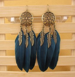 Wholesale Design Feather Earring - Hot Design Feather Earrings Women Antic Gold Leaves Earrings 10PCS Hoop Earring Black Navy Color Big Earrings Girls Party Long Earring