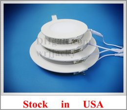 Wholesale Led Round Flat Panel Light - Stock in USA LED flat light round recessed ceiling LED panel lamp light 18W AC85-265V SMD2835 CE die-cast aluminum