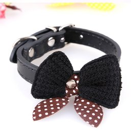 Wholesale Leather Knit Necklaces - 2 Pcs Free Shipping High Quality Knit Bowknot Adjustable Dog Puppy Pet Collars leash Necklace Hot Selling New Arrival Cool Small Dog Collar
