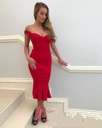 Wholesale Ladies Formal Tuxedos - 2018 Charming Cocktail Dresses Mermaid Off the shoulder Zipper Tea Length Satin Ruched Red Runway Fashion Evening Gown Ladies formal tuxedo