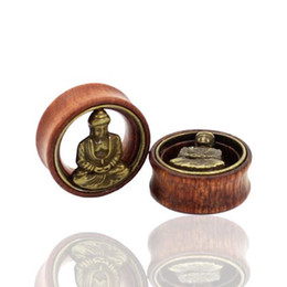 Wholesale Organic Tunnels - 1PC Organic Wooden Brass Buddha Ear Extension Ear Plugs Flesh Tunnels Expander Stretcher Body Piercing Jewelry Gauges