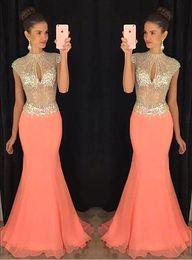 Wholesale Bust Bodice - Coral High Beaded Collar Keyhole Bust Rhinestone Chiffon Mermaid Prom Dresses 2016 Arabic Illusion Bodice Maxi Formal Evening Gowns