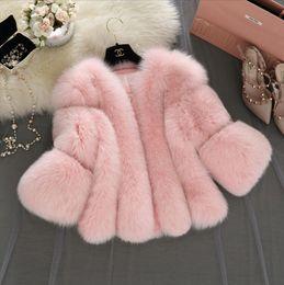 Wholesale White Faux Fur Short Jacket - Faux Fur Gilet Colete Pel 2017 New Winter Pink Faux Fur Coat Waistcoat Plus Size 4XL Furry Thick Faux Fur Jacket