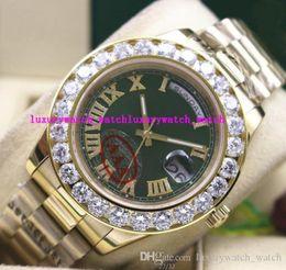 Wholesale Diamond Mens Wrist - Luxury Wristwatch Amazing Green Dial Mens 2 II 18k 41MM Yellow Gold Bigger Diamond Ceramic Bezel Mechanical Automatic Men's Watches Wrist
