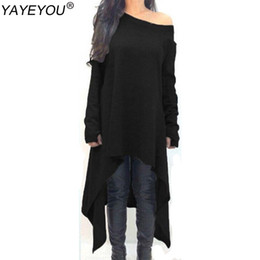 Wholesale Casual Asymmetrical Hem Dress - Wholesale- YAYEYOU New Autumn Maxi Dress Women Dress Long Sleeve Knitted Sweater Dresses Black Gray Irregular Hem Plus Size 3XL Vestidos