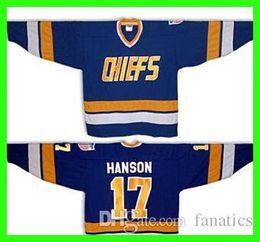 Wholesale connor costume - 2016 #17 Steve HANSON brothers SLAPSHOT movie Charlestown CHIEFS Hockey - Blue Halloween Costume Custom Any Number NO.Sewn On (S-4XL)