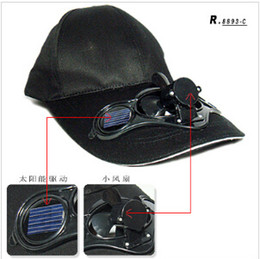 Wholesale Solar Powered Fan Hat Wholesale - BLACK  FREE SHIPPING SWITCH CONTROLED SOLAR POWERED FAN COOLING COOL BASEBALL HAT CAP