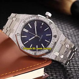 Wholesale Sapphire Royal - Luxury Brand High Quality Royal Date Diamond Case Automatic Mens Watch 15400ST Sapphire mirror Blue Dial Stainless Steel Strap Gents Watches