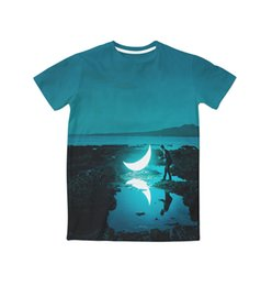 Wholesale Glow T - Real American USA Size Beautiful Midnight Moon Glow 3D Sublimation print T-Shirt Plus size