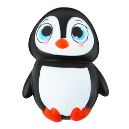 Wholesale Penguin Key Chain - Kawaii Penguin Bird Jumbo Soft Squishy Charm Key Chain Pendant Decoration Gift Strap Slow Rising Squeeze Toy Fun Stress Reliever Toy