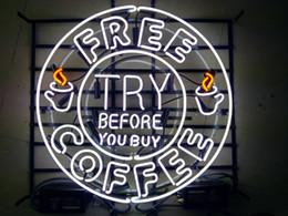negócio em casa grátis Desconto Café grátis Sinal de Néon Real Tubo De Vidro Bar Pub Loja de Publicidade de Negócios de Decoração Para Casa Arte Exibição de Presente de Metal Frame Tamanho 24''X20 ''