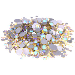 Wholesale Hotfix Strass - Jonquil AB Non Hotfix Crystal Rhinestones For Nails Art Decorations SS3-SS10 And Mixed Size Glue On Strass Diamond DIY Craft Wedding Dresses