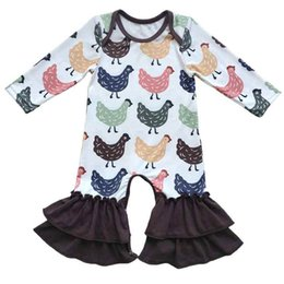 Wholesale Winter Pajama Baby - Little Girls Boutique Clothes Cute Chicken Printed Baby Girls Bodysuit Autumn Winter Baby Girls Long Sleeve Pajama Suit