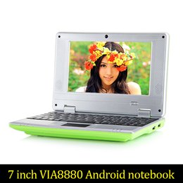 Wholesale Cheap Notebooks China - Cheap 7inch Mini laptop Android notebook VIA8880 Dual Core Android 4.2 Wifi Netbook Laptop 512MB 4GB 1.5GHz+Webcam HDMI Post