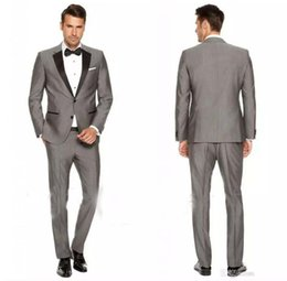Wholesale Slim Light Grey Wedding Suits - 2018 Custom Grey Mens Suits Black Lapel Slim Fit Wedding Suits for Groom   Groomsmen Prom Casual Suits (Jacket+Pants+Vest+Bow Tie)