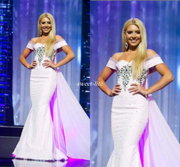 Wholesale Teen Black Evening Dresses - Miss Nevada Teen USA Pageant 2016 Evening Gowns Pink Off Shoulder with Train Mermaid Luxury Crystals Cheap Arabic Long Occasion Prom Dresses