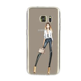 Wholesale Iphone Cases Drunk - 2016 2017 Newest Fashionable Style Girl Samsung Phone Case for Samsung S7 S7 edge Shopping Girl Coffee Drinking Dressing Fast DHL Shipping