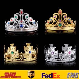 Wholesale Princess Birthday Hats - Luxury Crystal Diamond King And Queens Crown Hats Cosplay Holloween Party Birthday Princess Hats Caps Gold Silver Gifts HH-C09