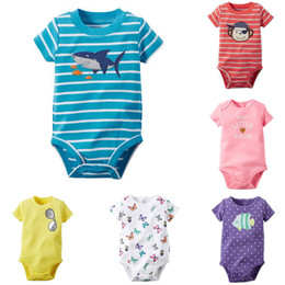 Wholesale Monkey Children Clothes - butterfly shark monkey dot girls boys unisex short sleeve striped bodysuits children One-Pieces baby jumpsuit child rompers kids clothing