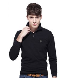Wholesale Hot Pink Shirts For Sale - Brand Clothing 2017 New Men's Crocodile Embroidery Polo Shirt For Men Polos Men Cotton Long Sleeve shirt s-ports jerseys Plus M-4XL Hot Sale