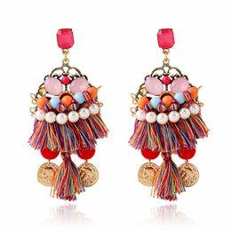 Wholesale Dangle Thread Earrings - Long Colorful Thread Tassel Earrings For Women Bohemian Beads Earing Ethnic Gold Color Coins Drop Dangling Earring Indian Jewelry
