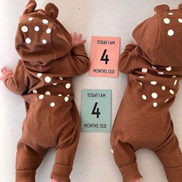 Wholesale Ears Hood - Hot Ins Baby boy clothing Dots Bear ears Romper with Hood Cute Jumpsuit Boutique Baby clothing Zipper 2017 Hotsale 100%cotton Winter