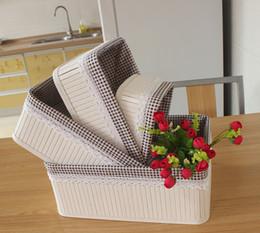 Wholesale Corner Fabric - white Bamboo Storage Basket. bathroom box foldable bamboo box Round Cornered, Dark Wood Tones With Cloth Liner