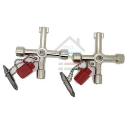 Wholesale Valve Order - 2pcs Universal Multi-Function Cross Triangle Cross Key Train Electrical Cabinet Elevator Key Alloy Triangle Valve Spanner order<$18no track