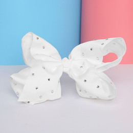 Wholesale Hair Clips Ribbon Diamond - 8'' Big bowknot Girls Hair Band Satin Ribbon hairpin with diamond girl barrette large solid color bow hair clip jojo Headband