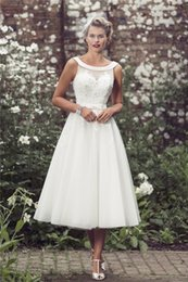 Wholesale Tea Length Beaded Ivory Dress - Vintage Lace Tea Length Sheer Wedding Dresses 2016 Beaded Crystal Ivory Tulle Scoop Neckline Country Style Garden Bridal Gowns