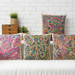 Wholesale pink flower pillow case - Free shipping south east asia ethnic style totem pink flower paisley pattern cushion cover home car decorative throw pillow Case