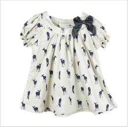 Wholesale Kids Summer Dress Patterns - 2016 New Baby Girl Kids Short Sleeve Deer Fawn Pattern Shirt Shirts Tops Children Clothing Cute Girl Ribbon Bowknot T-shirt Dress 2-8T