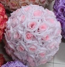 Wholesale Little Silk Flowers - Diameter 25cm Little Pink Artificial Rose Silk Flower Kissing Balls Christmas Ornaments Birthday Wedding Party Decorations Supplies