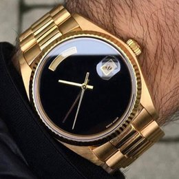 Wholesale Men Branded Watches - luxury brand watch men automatic rolix 36MM DAY DATE Big Black face Mechanics men's watches Sapphire original 18K Gold Stainless steel clasp