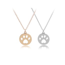 Wholesale Rhinestone Pendant Charm Pet - Hollow Cat Dog Paw Print Necklace Animal Gift Cute Claw Pendant Jewelry Lovely Pet Statement Necklace Women Girl Gift