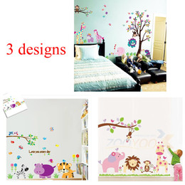 Wholesale Jungle Stickers For Kids - 100pcs 3 designs: ZY5099 9046 869 giraffe lion elephant animals tree jungle cartoon wall stickers for kids room decorations zoo home decals