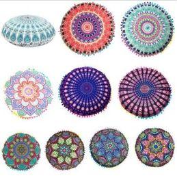 Wholesale Round Throw Pillows - 36 Designs 43*43cm Round Cushion Pillow Covers Mandala Floor Pillow Cover Indian Bohemian Throw Pillow Case CCA6887 120pcs