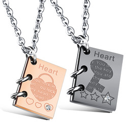"""Wholesale Book Lock Key - 1PC Stainless Steel His and Hers Matching Necklaces """"You lock my heart, You are the key"""" Book Shaped Pendants Set-Free Customized Engraving"""