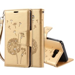Wholesale Glitter Leather Case - Wallet Case For Samsung Galaxy A5 2016 Dandelion Pattern Shiny Glitter Cover Leather Case Flip Stand Wallet with Card Slots